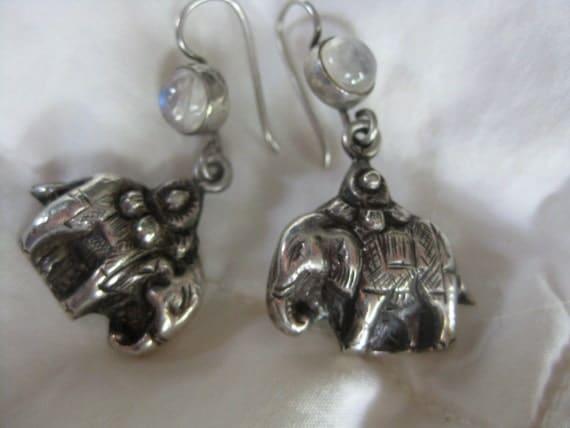 Unusual Silver ELEPHANT MOONSTONE Pierced EARRINGS