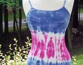 Navy Blue & Fuchsia Custom Tie Dye Tank Top Shirt by Karma Couture- XS