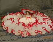 Small Vintage Milk Filter Dress Me Doll with Red Bows