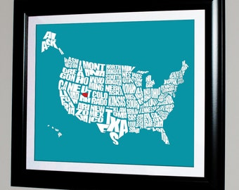 USA Word Map with Your HOME shown, Home Decor, Childrens Bedroom, Housewarming, Moving Away, Graduation Gift, Typography Stencil, Custom