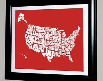 USA Word Map with Your HOME shown.