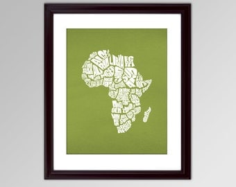 Africa Word Map - A typographic text map of the Countries of Africa - INSTANT DOWNLOAD - 8x10