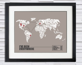 I've Been Everywhere - World Word Map Travel Log, Travel Map Print or Canvas, Travel Gift, Home Decor, Christmas Gift Art