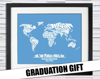 Oh The Places You'll Go - World Word Map - Great Personalized Graduation or Baby Shower Gift Idea, Print or Canvas