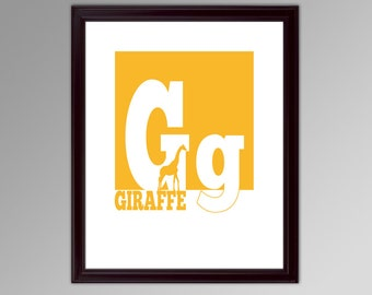 G is for Giraffe - Alphabet Block Poster - Any Letter, Any Color - Great for a Child's Bedroom, Baby Shower Gift Ideas, Print or Canvas Art