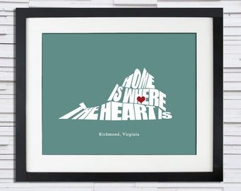 Home is Where the Heart Is - State Silhouette Poster  (Any State or Country), Wedding, Anniversary, Bridal Shower Gift Idea, Print or Canvas
