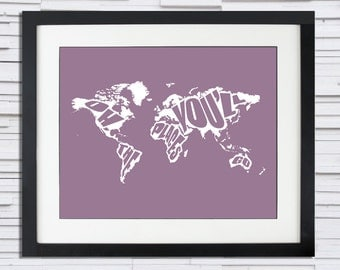 Oh The Places You'll Go (Dr. Seuss) - World Silhouette Cutout Map - Graduation Gift or Child's Bedroom