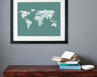 World Word Map - A typographic word map of the Countries of the World, Custom Art Print or Canvas Art
