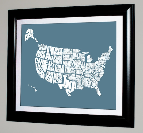 USA Word Map - - Typographical US Stencil Map, Personalized with Custom Colors, Variety of Sizes Available, Home Decor and Gift Ideas
