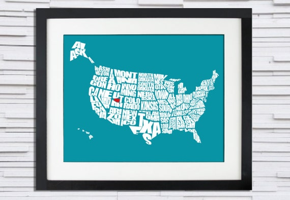 Custom USA Word Map with Your HOME shown