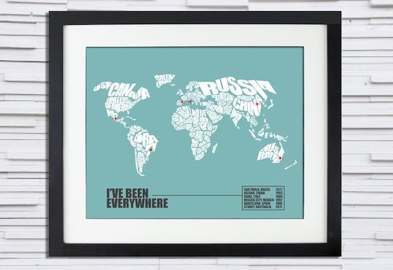 I've Been Everywhere - World Word Map Travel Log