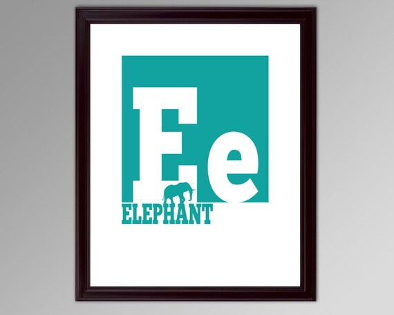 E is for Elephant - Alphabet Block Poster - Any Letter, Any Color - Great for a Child's Bedroom, Personalized Baby Shower Gift Idea