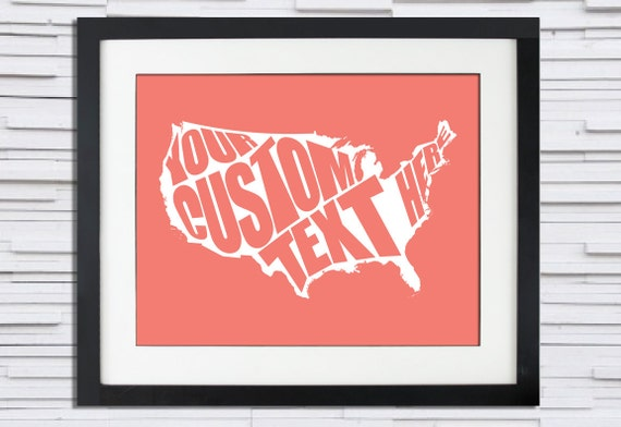 USA - Custom Quote Typography Poster - Wedding or Anniversary Gift or Home Decor