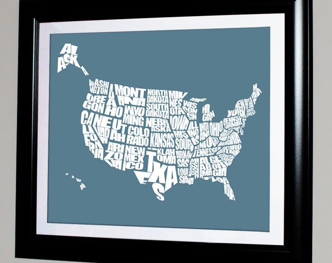 Usa Word Map Typographical Us Stencil Map Personalized With Custom Colors Variety
