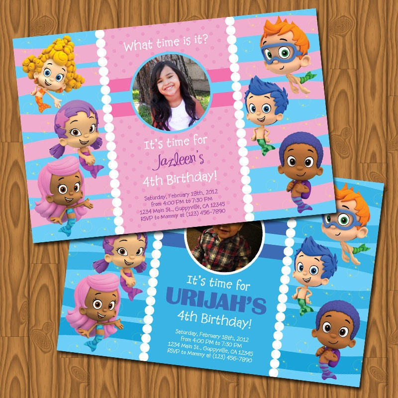 Bubble guppies party invitations by jayarmada on etsy - Bubble guppie birthday ideas ...