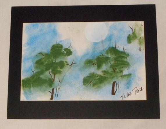 Matted original watercolor - Evergreen Evening -