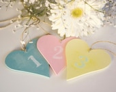 Chalkboard Wedding Table Numbers,  Rustic Hearts in Beautiful Pastels, Wedding Decoration, Choose Your Colors, 10 hearts