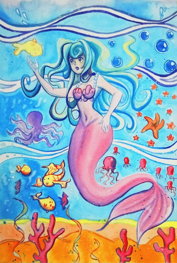 Pink Tail Mermaid - Original Watercolor Painting