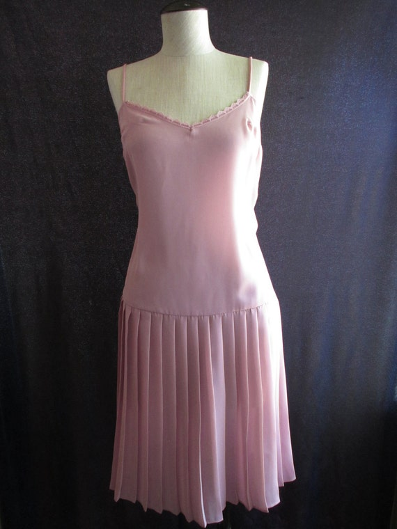 ON SALE - Vintage Pastel Pink Flapper Pleated Sheer Slip Dress
