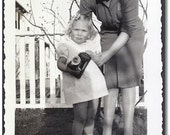 Vintage Photo, Little Blonde Girl Holding Camera with Mom - Old Photo/Snap Shot for Collector, Mixed Media Artist, etc...b632