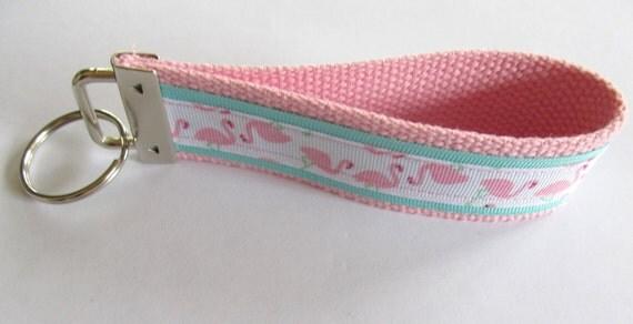 keychain wristlet.keyfob.key lanyard.key chain wrist key fob.keylette.one keyfob.pink.Christmas gift