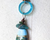 blown glass, lampwork glass bead,apatite,copper chain by True Nature Designs