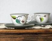 Vintage Denby Tea Cup & Saucer Set - Albert Colledge Spring Collection - 1950's (2 sets)