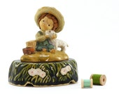 Vintage Little Boy with Baby Lamb Music Box - UCTCI Japan - Little Boy Figurine - Back to School, Kids, Boys Room Decor