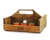 Reclaimed Wood Garden Tote - Wood Tote with Handle, Seed Basket, Wood Planter - Primative, Farmhouse