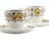 Vintage J & G Meakin Cup and Saucer Set : Braemar Classic White - English China, Yellow, Blue, Brown Floral Pattern - 1960's (Set of 2)