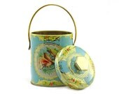 Murray-Allen Tropical Blue Bird Candy Tin with Handle: Gold & Blue Tin, Shabby Chic, Cottage Decor, Light Blue, Gold, Floral, Lace - 1960's