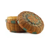 Round Woven Sewing Basket w/Lid: Chinese Wicker Basket, Handwoven - Green, Rust Orange, Brown - Southwest, Southwestern, Rustic Farmhouse