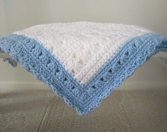 New Hand Crocheted Baby Boy / Lap Blanket