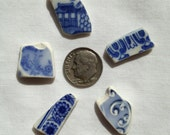 5, Natural, Blue Willow, Surf Tumbled, Sea Pottery, Beach Pottery, Ceramic, Tile, Pieces, Jewelry Making, Craft, Supplies