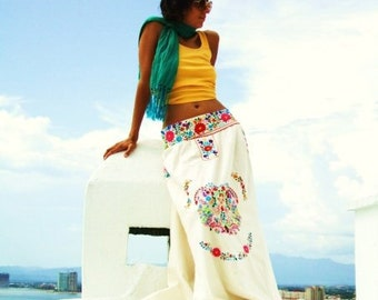 Naitive Mexican Hand Embroidery Maxi Skirt