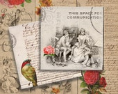FRENCH VINTAGE ROMANCE - 4x4 inch Digital Collage Sheet Printable Download for Coasters Magnets Greeting Cards