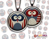 1 inch (25mm) 1.5 inch circles Digital Collage Sheet PATRIOTIC OWLS 4th Fourth of JULY Printable Download for Pendants Bottle Caps Cabochons