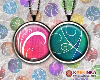 1 inch & 7/8 inch Circles Digital Collage Sheet FLORAL ORNAMENT Printable Download for Round pendants Bezel trays Cabochon Print it yourself