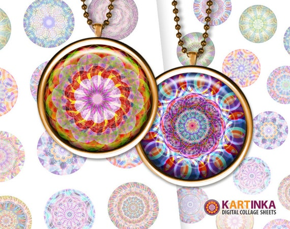 MANDALA - 1 inch, 1.25 inch & 1.5 inch Round images printable digital downloads for Pendants Glass Cabochon Jewelry Supplies Bezel Trays DIY
