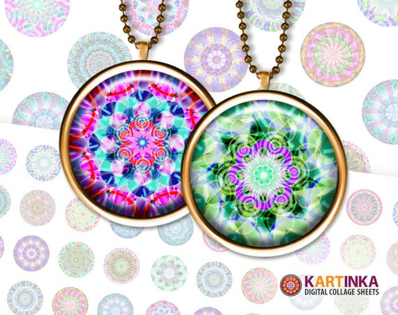 NEON MANDALA -  1 inch & 1.5 inch Printable digital download images for Round pendants Bezel trays Bottle caps Glass cabochons Crafts DIY