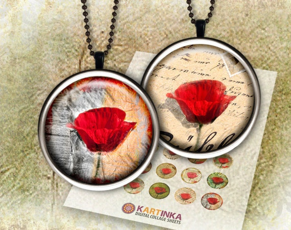 POPPIES 1 inch, 7/8 inch Images for Resin pendants Bottle caps Round bezel cabs Jewelry Crafts Mountings cameo settings Glass cabochons DIY