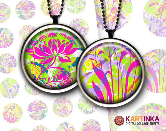 NEON FLORAL MIX - 1 inch and 1.5 inch circles Digital Collage Sheet Printable Download for pendants magnets