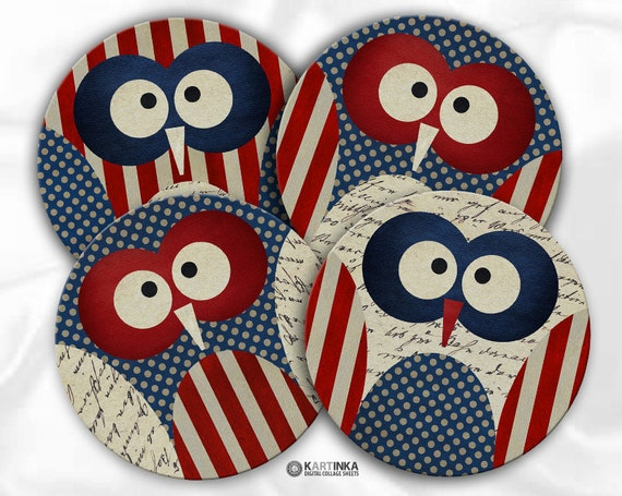 PATRIOTIC OWLS 4th Fourth JULY 4 inch, 3.8 inch Circles Digital Collage Sheet Printable for Coasters Magnets Greeting Cards
