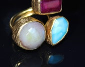 Sultanesque Ottoman Style 3 Stone Semi-precious Ring