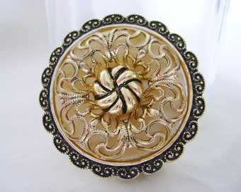Vintage West Germany Brooch - 1960s Mother of Pearl Gold Tone Filigree