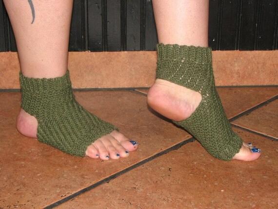 Encantada Yoga Socks crocheted with lightweight, olive green wool blend yarn