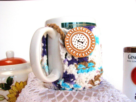 100% Cotton Purple and Teal crocheted Mug Hug cozy with coaster bottom, wooden button