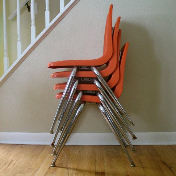 Vintage Orange Virco Set of School Chairs