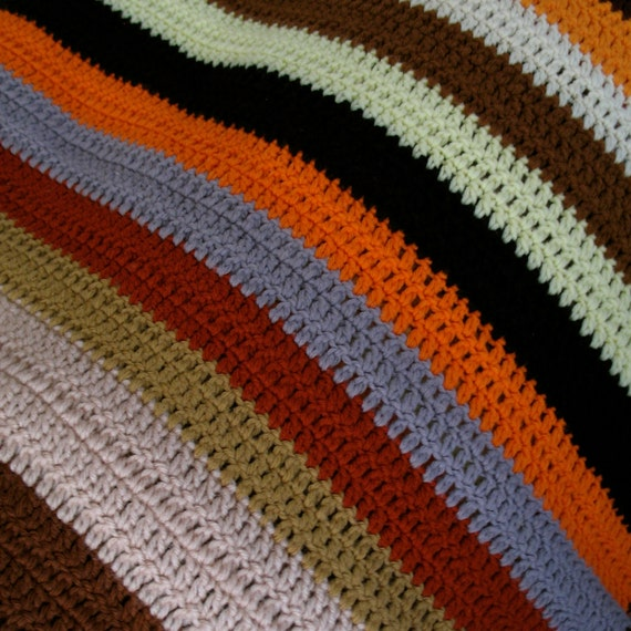 Colorfully Striped Crochet Blanket