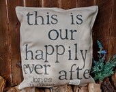 "NEW -""Happily Ever After"" hand painted textured natural cotton pillow cover - 20"" x 20"""